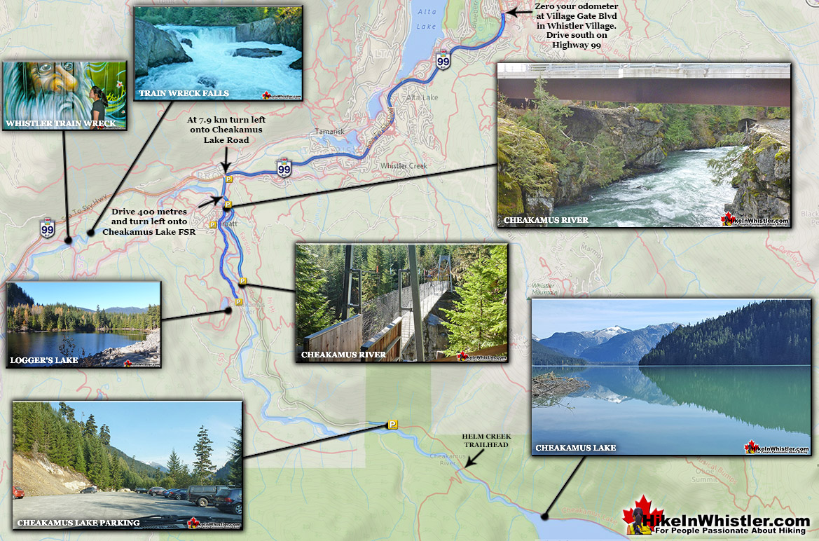 Cheakamus River Directions Map