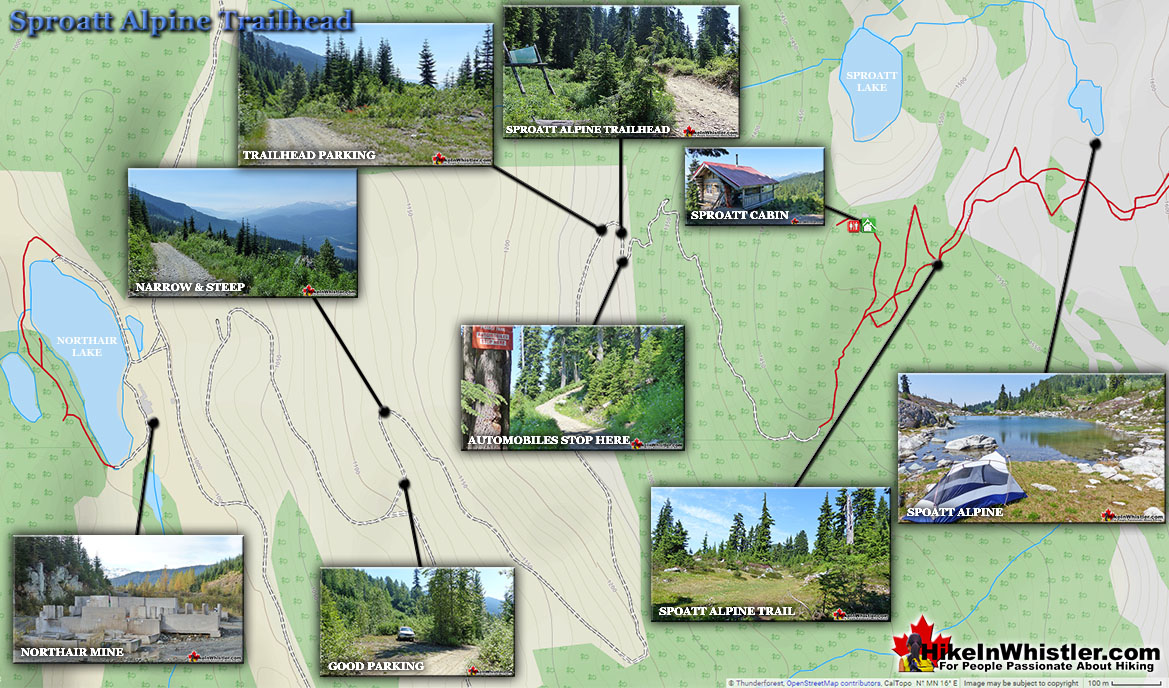 Sproatt Alpine Trailhead Map